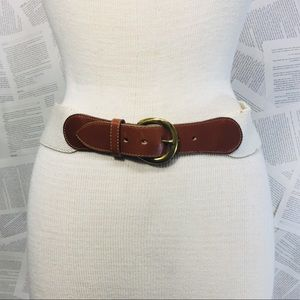 Vintage Lands' End Leather Brass Stretch Belt S